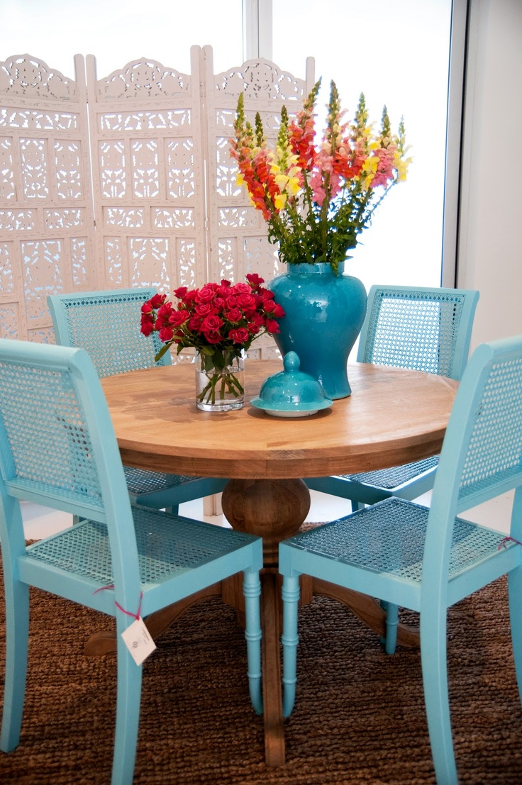 i think i want to paint my chairs blue turquoise kitchen chairs Blue chairs with natural table