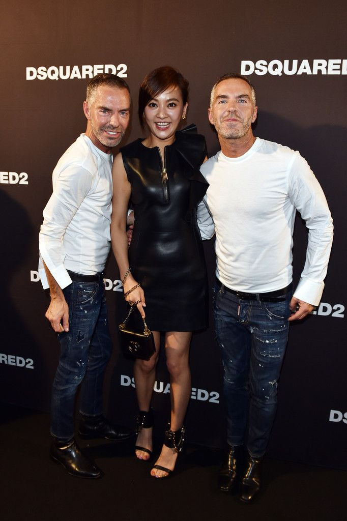 Dean Caten, Ivy Chen and Dan Caten attend the DSquared2 Spring 2016 show on September 26, 2015 in Milan