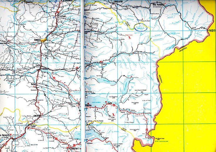 """Provincia de Cautin.  Guía Caminera de Chile """"Eura""""® 1972-1973"""