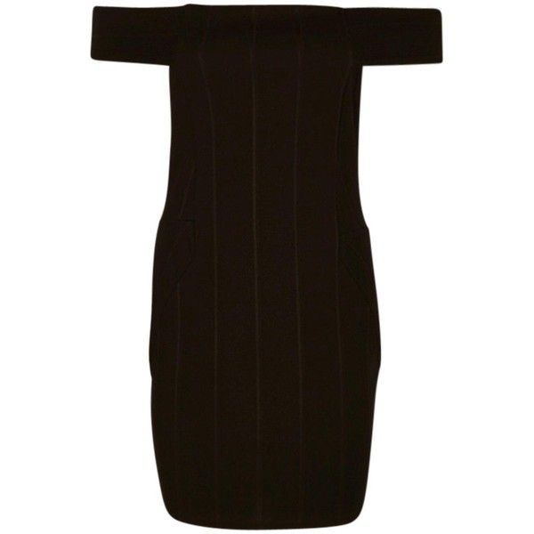 Boohoo Petite Tessie Bardot Bandage Bodycon Dress ($14) ❤ liked on Polyvore featuring dresses, brown bodycon dress, brown dresses, bodycon cocktail dress, body con dress and body conscious dress