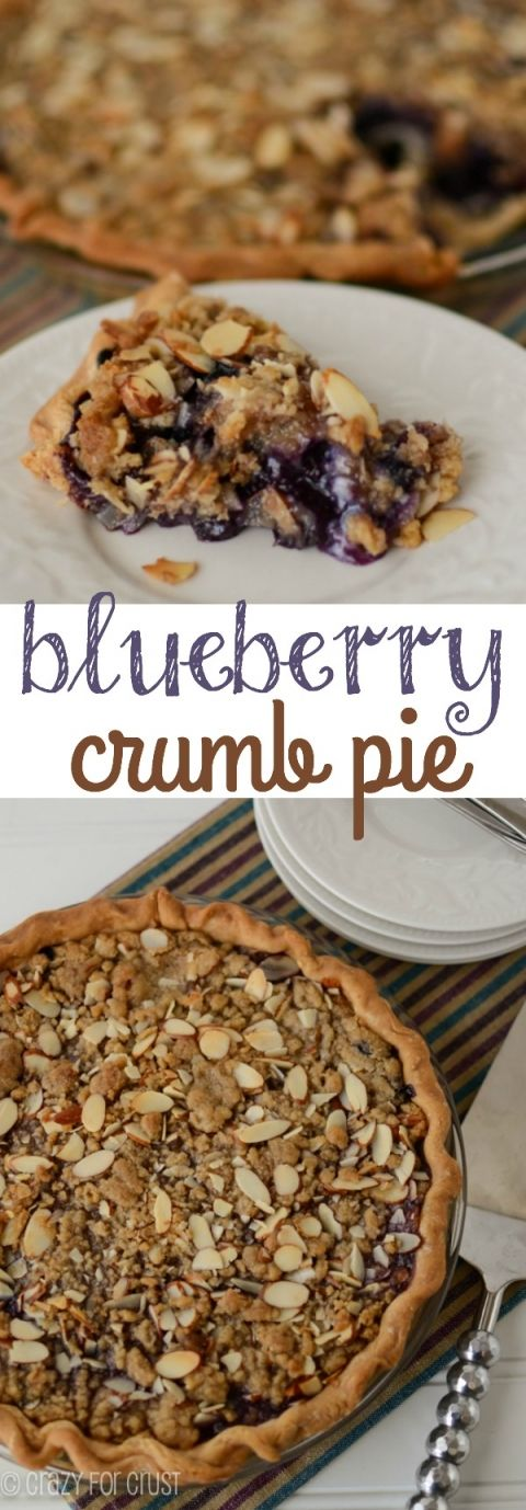 Blueberry Crumb Pie has a juicy blueberry filling topped with white chocolate and an almond crumble