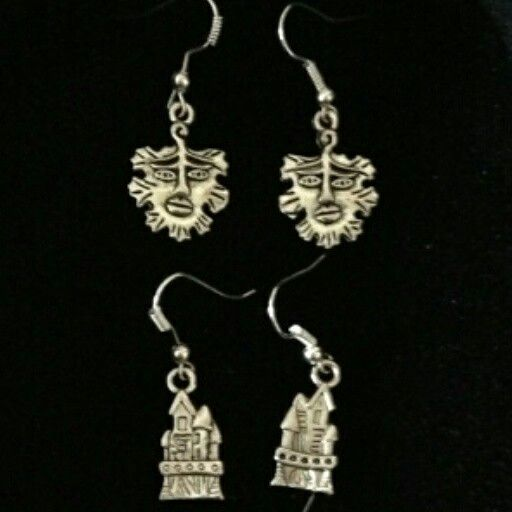"""Green Man Earrings $5 Castle Earrings $5  To place an order, visit our Facebook page """"Moonsong Jewellery"""" or email moonsongjewellery@gmail.com"""