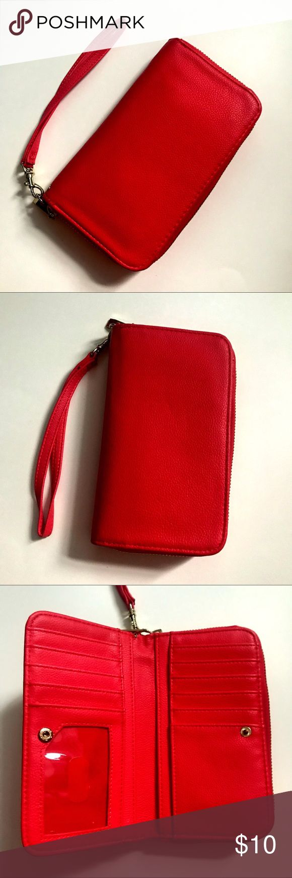Red Clutch Wallet Adorable and simple red clutch, detachable wrist strap, easy to organize and use as a regular wallet or simple clutch when going out. - One size - Clutch/wallet - Great condition - Dark pink/Red - Nonsmoking house Nordstrom Bags Clutches & Wristlets