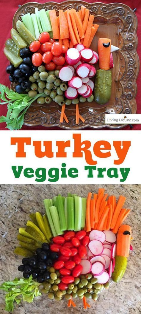How to make a Turkey Vegetable Tray for Thanksgiving! These cute turkey veggie trays are fun ideas for a Thanksgiving table or healthy fall party food. #thanksgiving
