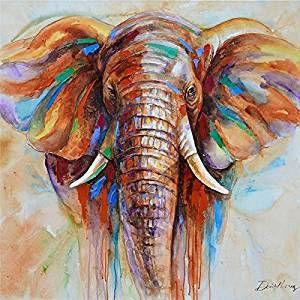 Raybre Art® 60 x 60cm Stampe su Tela Animali Elefante Selvaggio Pitture a olio Quadri Astratti Moderni per Decorazione della Parete di Arte Casa, Senza Cornice