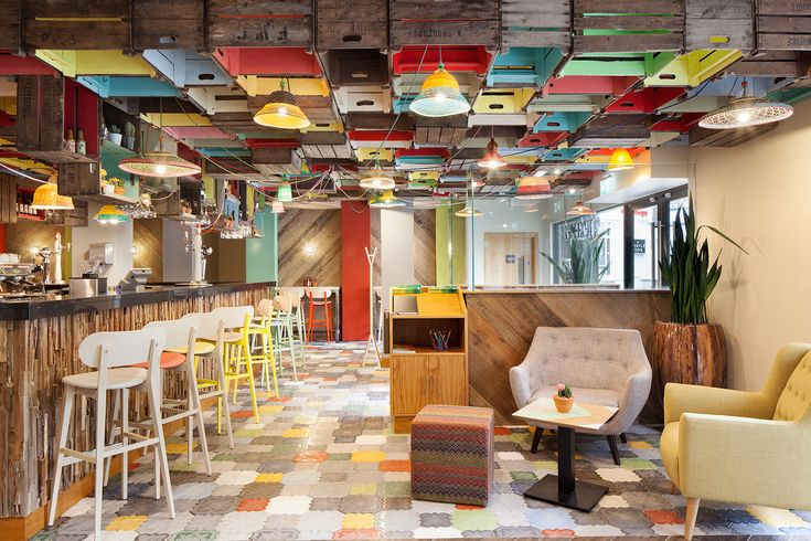 Incredibly funky and original design at Chimichanga restaurant. Featuring colourful, handmade tiles from Solus Ceramics.