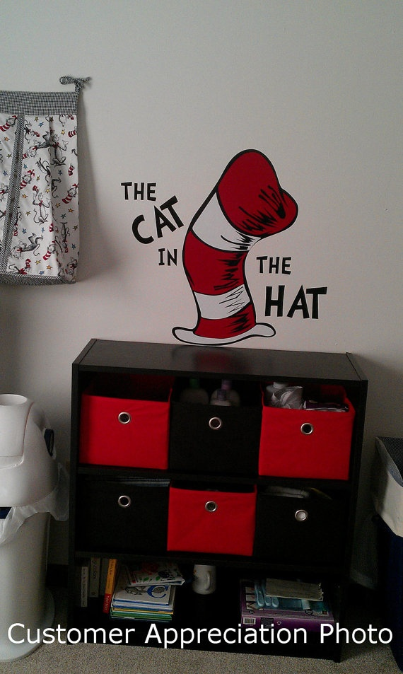 Cat in the Hat Childrenu0027s Vinyl Wall Decal 22 by ThatsTotallyCool $29.99 & 24 best cat in the hat images on Pinterest | Birthday party ideas ...