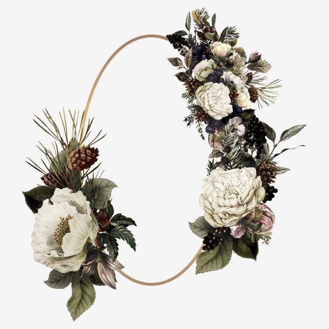 Elegant Wedding Invitation Frame Flower Wreath Illustration Wreath Illustration Trendy Flowers