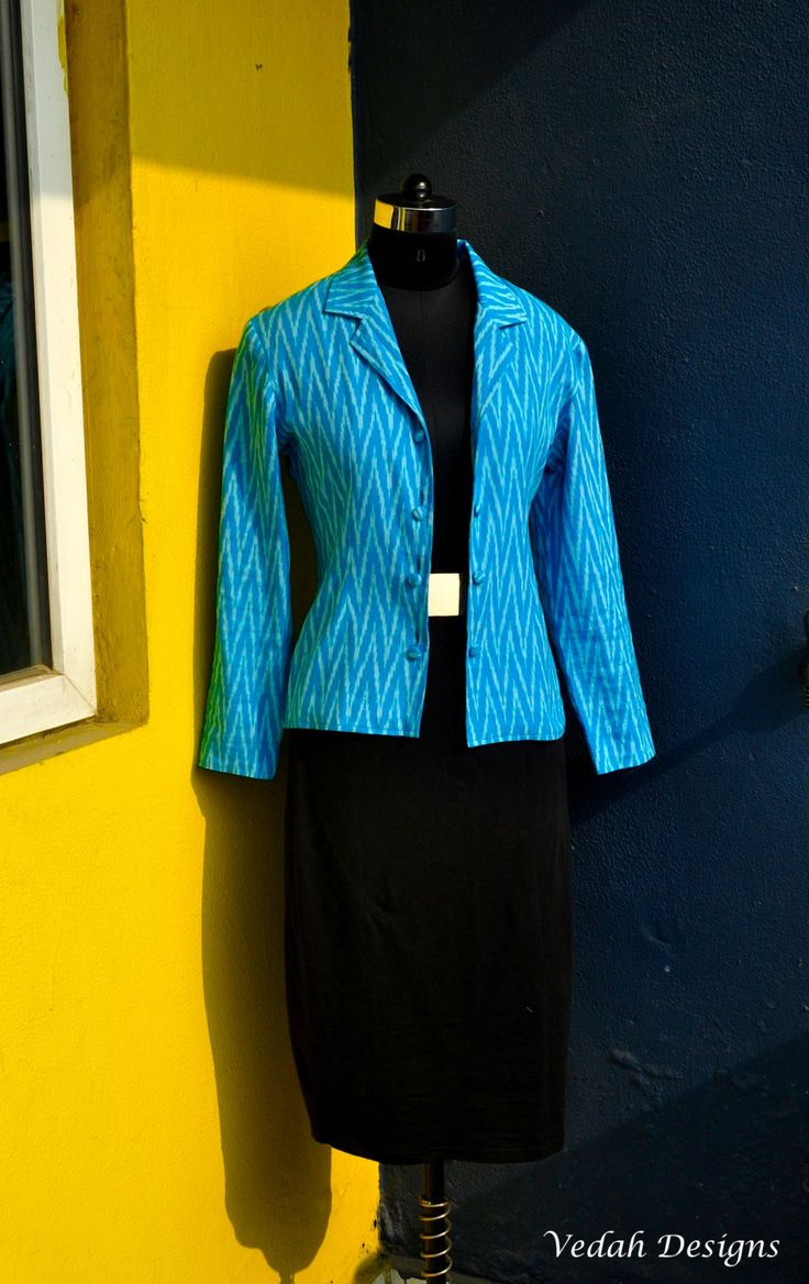 Aqua Blue handloom IKat Jacket Blazer Indian Ikat cotton jacket by VedahDesigns on Etsy