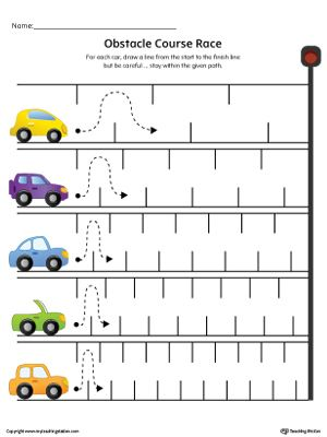 Practice pre-writing with this line tracing worksheet along with fine motor skills.