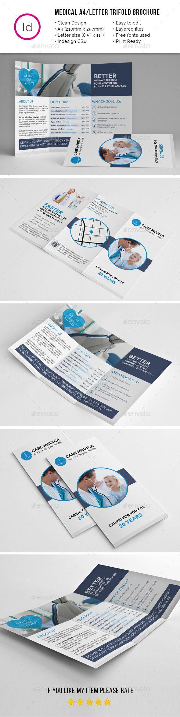 Medical A4 Letter Trifold Brochure Tempalte