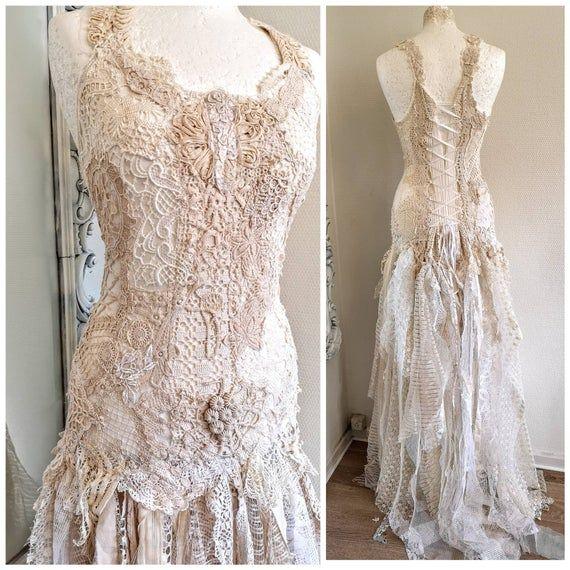Bohemian Wedding Dress Recycled Lace Bridal Gown Vintage Lace Bride To Be Raw Rags In 2020 Tattered Wedding Dress Bridal Gowns Vintage Boho Chic Wedding Dress