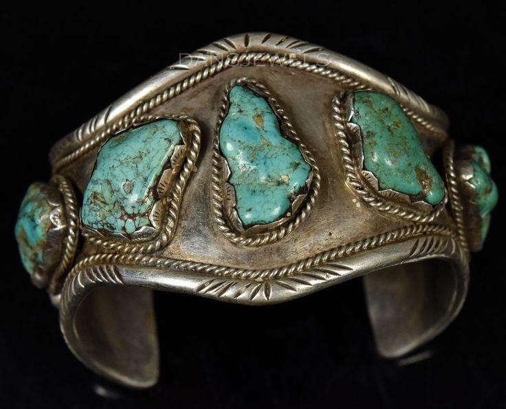 Vintage Old Pawn Navajo BIG NATURAL Boulder TURQUOISE Sterling Men's Bracelet