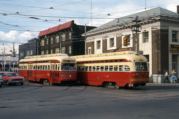 PCC streetcars at Queen, King and Roncesvalles in 1976 via Lou Gerard