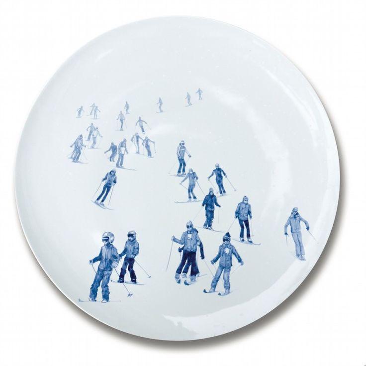 Plat rond en faience Ski 43 cm de la Faiencerie Georges