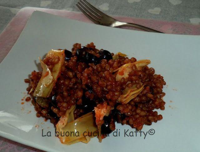La buona cucina di Katty: Grano tenero bio con olive e carciofini