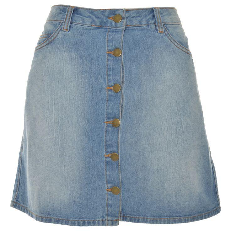 Saia Jeans com Botões   Denim Skirt   Linha A