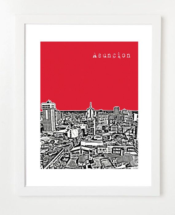 Asuncion Paraguay Art Print - City Skyline Series Art Print - South America - 8x10