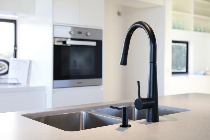 Meir's Round Matte Black Soap Dispenser (MP09) and Pull Out Matte Black Kitchen Mixer (MK07)