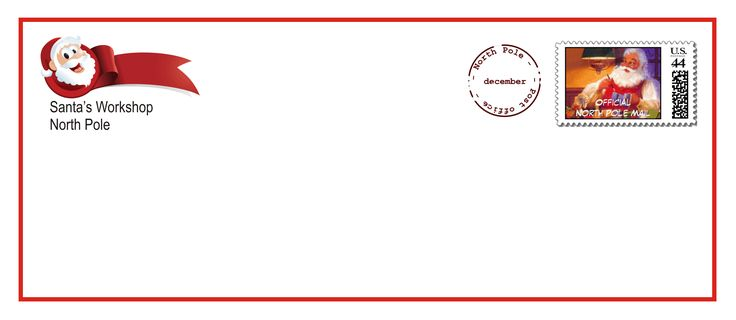Printable Santa letter envelopes that come with the upgraded letter and Nice List certificate on Free Letter from Santa Claus.net.