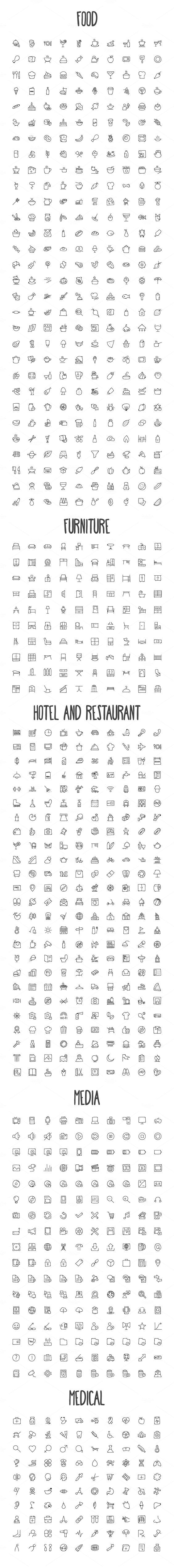2440 Hand Drawn Doodle Icons Bundle - Icons - 3