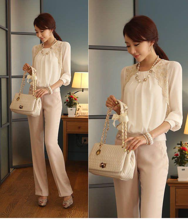 Beautiful style.  Chic.  Feminine.  Flirty!  New Fashion Women's Vintage Long Sleeve Sheer Tops Lace Shirt Chiffon Blouse | eBay