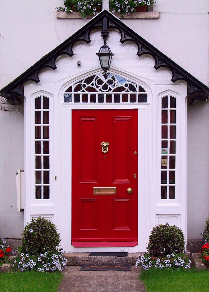 front door decoration with red colors 22 house exterior design ideas