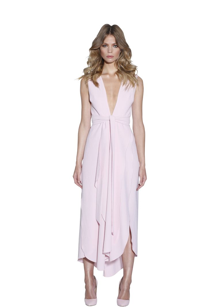 POWDER BLUSH V-PLUNGE DRESS | #W #BYJOHNNY #LIMITEDEDITION #AUSTRALIANFASHION