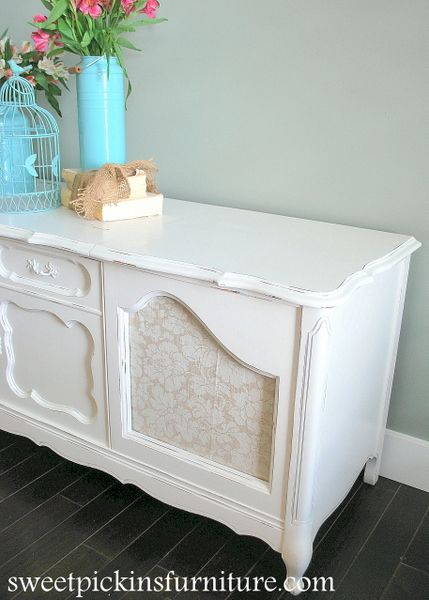 Sweet Pickins Furniture   Record Cabinet In Sherwin Williams Dover White