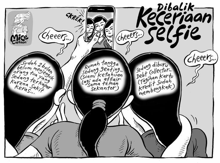 Mice Cartoon, KOMPAS Minggu 1 Juni 2014: Di Balik Keceriaan #Selfie