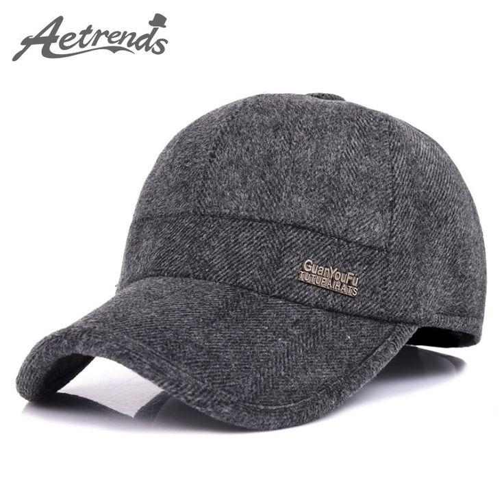 [AETRENDS] 2017 New Woolen Baseball Cap Men Russian Winter Hats Warm with Fleece inside and Earflaps Z-5001