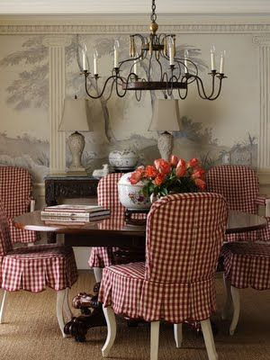 Dining Room, Red, Checks, Gingham, Slipcovers, Chandelier, Wallpaper