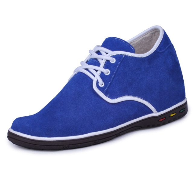 handmade height gaining shoe - Blue men elevator casual shoes grow tall 7cm / 2.75inches from Topoutshoes store