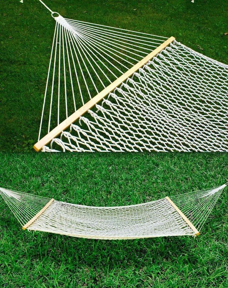 "Bed Hammock Cotton Double Wide Solid Wood Spreader 59"" Outdoor Yard Patio New #BestChoiceProducts"