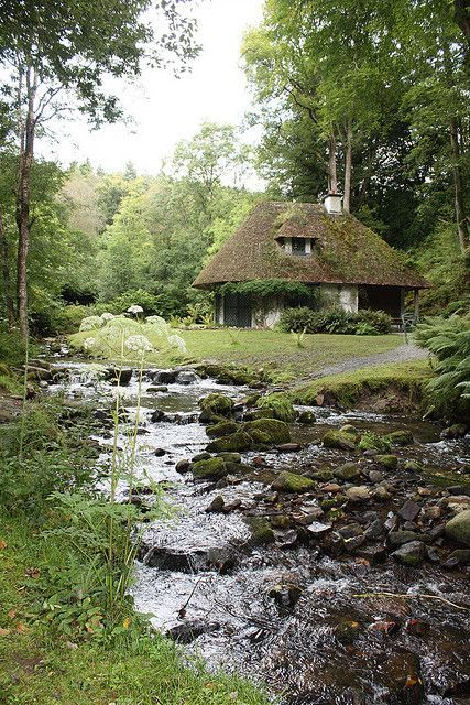 old cottage and stream