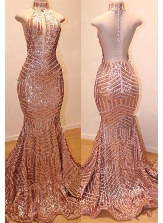 df80d8f0620 USD 159.00 - Glamorous High-Neck Sleeveless Sequins Prom Dresses ...