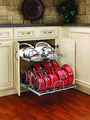 Pull Out Cabinet Rack Cookware Organizer Pots Pans Lids Holder Kitchen Storage. Another option for my dram kitchen...