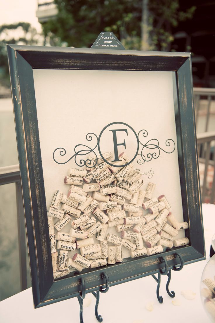 Wedding wine cork shadow box guestbook at The Mountain Winery #themountainwinery #winerywedding #franciswedding