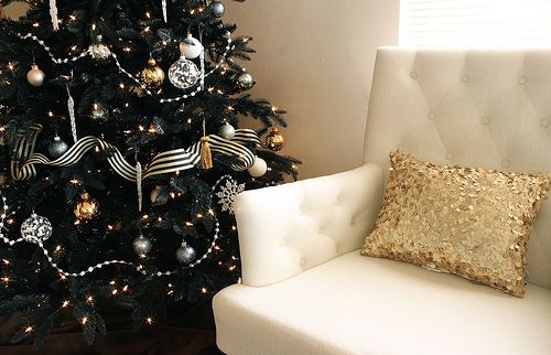 black + gold + stripes #christmas: Holiday, Gold Pillow, Black Christmas Trees, Sequin Pillow, Black White, Christmas Decor