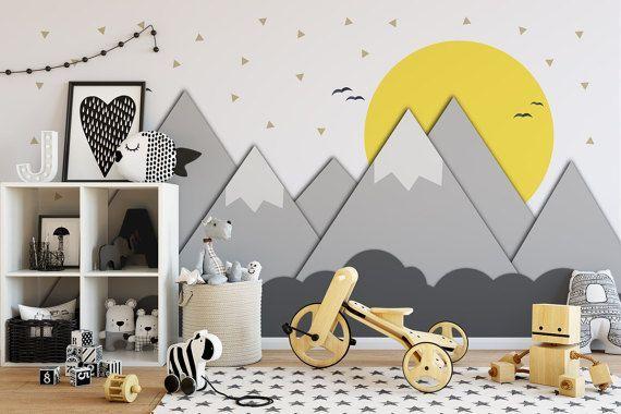 Berge und Sonne – Kinderzimmer – Fototapete – Papierschnitt – Kinderzimmerdekor – Kinderzimmer – Klebestoff – Peel And Stick – SKU: MOUSU