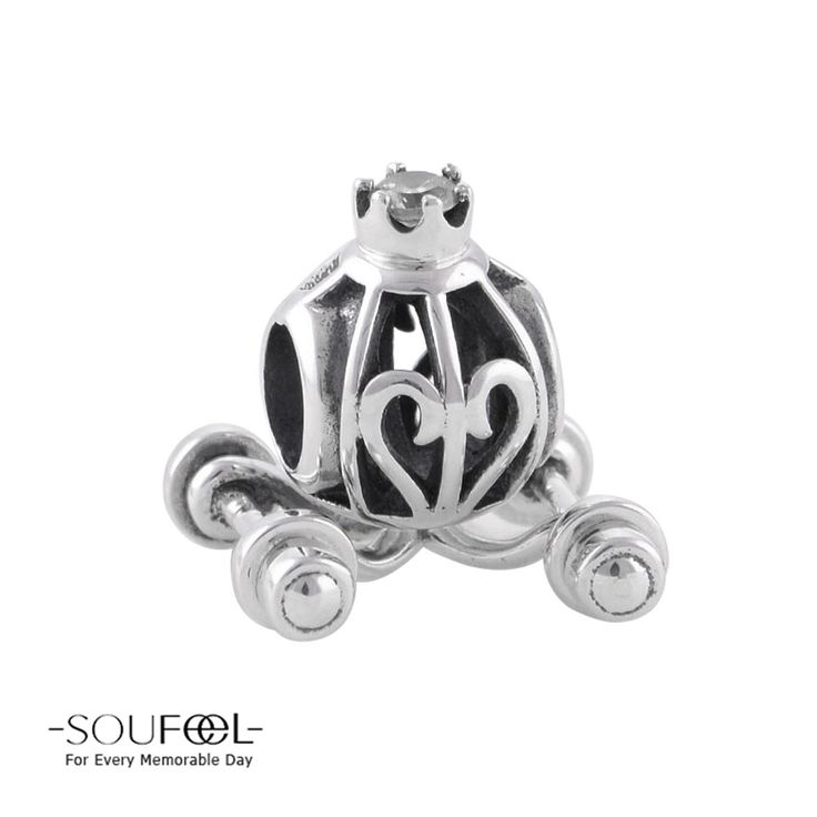 Pumpkin Carriage Charm 925 Sterling Silver Fit All Brands www.soufeel.com