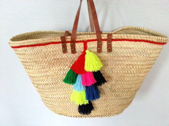 Straw beach bag, beach bag,panier de plage, sac de par PalmStyleShop
