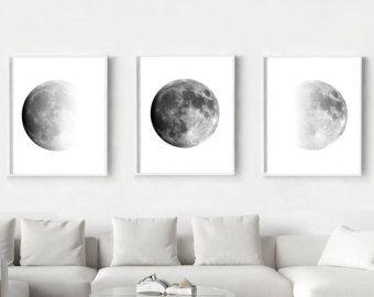 Moon Phases Print Set of 3 Black and White Wall Art Minimalist Poster Scandinavian art Large Lunar Art Prints Triptych Moon Art Night Sky