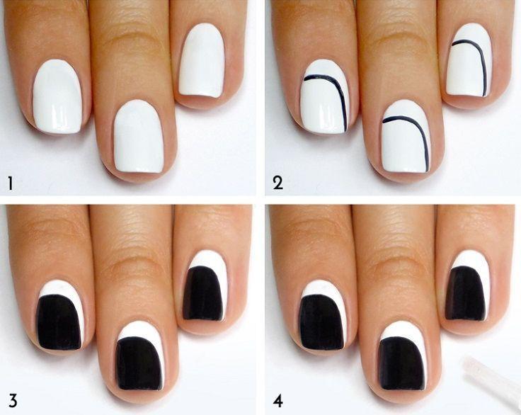 décoration ongles étape par étape en noir et blanc