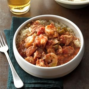 Forgotten Jambalaya Recipe -During chilly months, I fix this jambalaya at least once a month. It's so easy…just chop the vegetables, dump everything in the slow cooker and forget it! Even my sons, who are picky about spicy things, like this dish.—Cindi Coss, Coppell, Texas