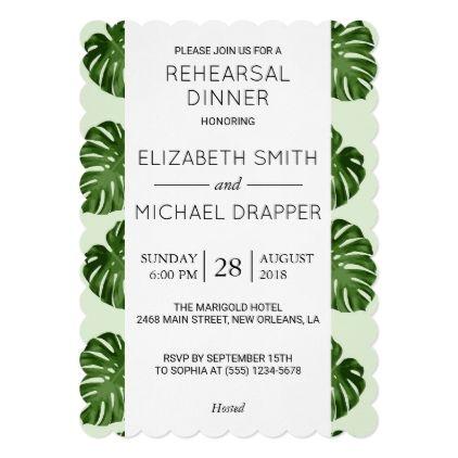 #Rehearsal Dinner - Palm Leaves - Green Card - rehearsal dinner invitations #rehearsal #dinner #invitations #weddinginvitations #wedding #invitations #party #card #cards #invitation #rehearsaldinner