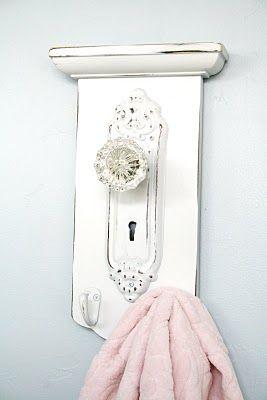 Another adorable door knob towel rack idea!!!