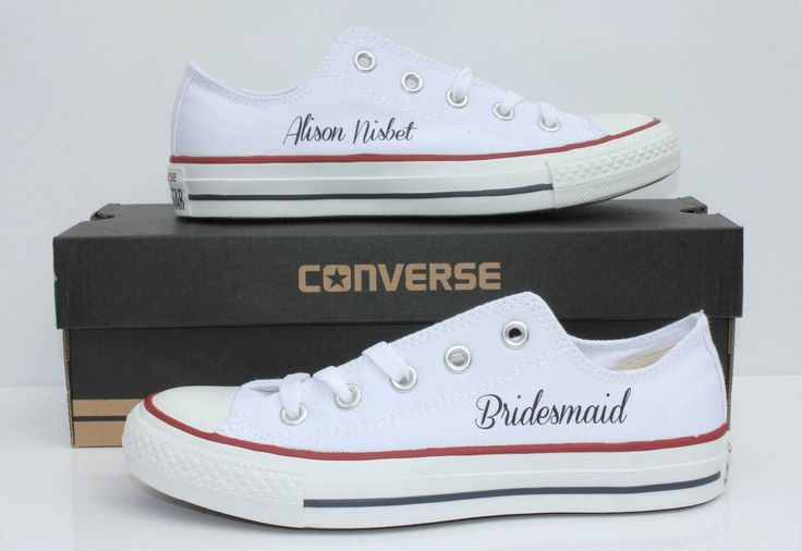 White Converse Ox with personalisation. Bridesmaid name on one Converse and Bridesmaid on the other. Available from www.dead-fresh.co.uk