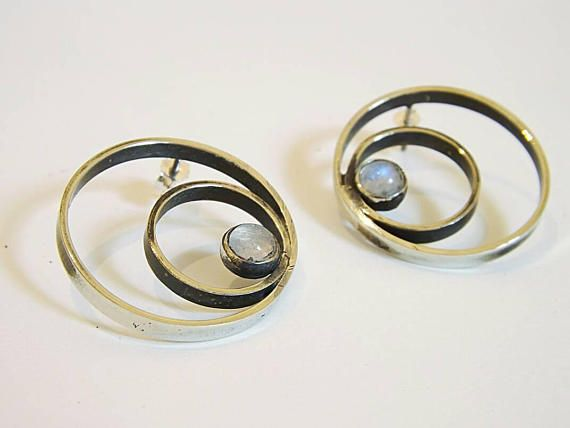 Moonstone sterling silver hoop earrings,σκουλαρίκια,minimal,circle earrings , rainbow moonstone, boho, κρίκοι, φεγγαρόπετρα