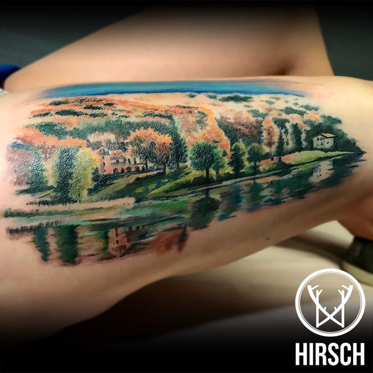 landscape ink inked ink tattoo tattoo tatoo lagolo trentino monte bondone trento tatooed